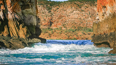 """Spring tide at the second gap at the """"Horizontal Waterfalls"""" sees a drop in sea level of over 3 metres as the 10 metre tides  rush through in a maelstrom of turbulence."""