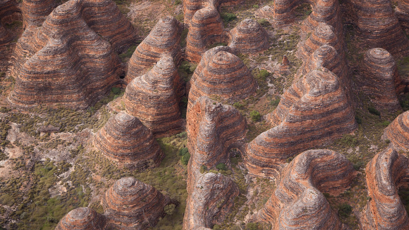 Aerial images of the Bungle Bungle Ranges in the Purnululu National Park