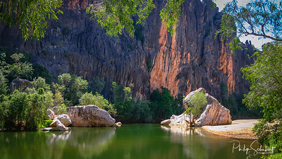 The Lennard River carves a stunning canyon through the Napier Range at Windjana Gorge, Kimberley Region, Western Australia. The permanent pools in the river provide a permanent habitat for dozens of freshwater crocodiles.