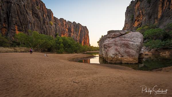 """Jandamarra Rock"" -Windjana Gorge, Kimberley Region, Western Australia. The permanent pools in the river provide a permanent habitat for dozens of freshwater crocodiles."