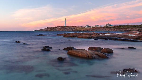 Early morning view just after sunrise of the Cape Leeuwin lighthouse at Augusta in Western Australia.