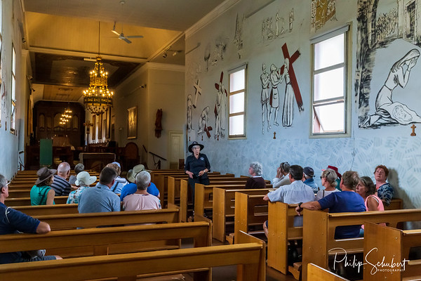 New Norcia, WA, Australia - Sep 16 2019: The interior of the abbey in Australia's only monastic town run by Benedictine Monks. Daily tours are conducted.