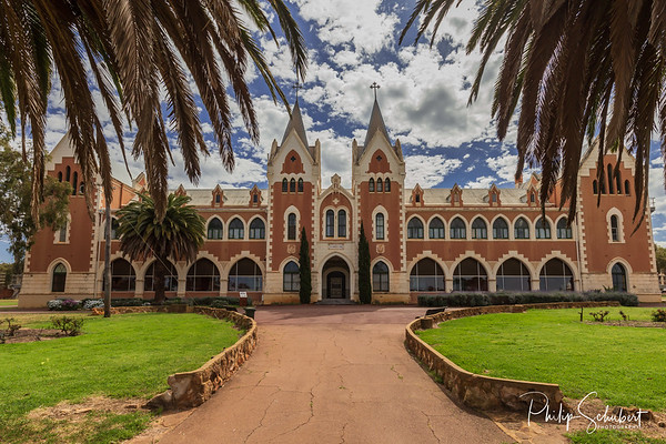 New Norcia, WA, Australia - Sep 16 2019: The exterior of St Gertrude's College in Australia's only monastic town run by Benedictine Monks. Daily tours are conducted.