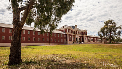 New Norcia, WA, Australia - Nov 2 2019: Exterior views of the old convent, now a visitors Centre and museum  in Australia's only monastic town run by Benedictine Monks.