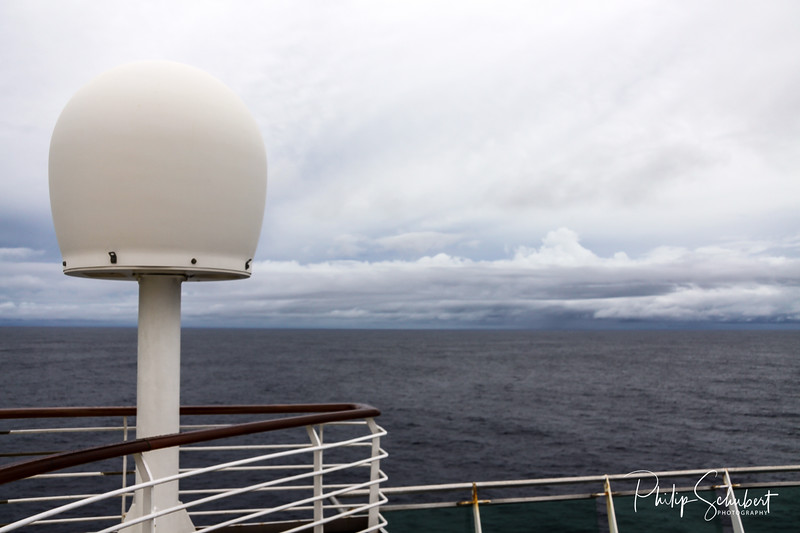 Telecommunications and Navigation equipment on the upper decks of a modern cruise ship.