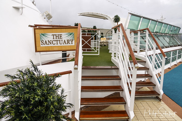 INTERNATIONAL WATERS - May 18 2010 Adults Only relaxation and spa area on the upper deck of Sun Princess. Cruise lines regularly refurbish older ships, this area once a kiddies pool.