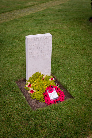 Ypres,Belgium - May 23, 2019: Portrait view of a grave at the Yypres Tyne Cot War Cemetary, Ypres, Belgium.