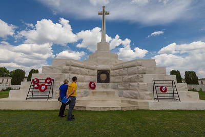 Ypres,Belgium - May 23, 2019: Landscape view of graves and memorials at the Yypres Tyne Cot War Cemetary, Ypres, Belgium.