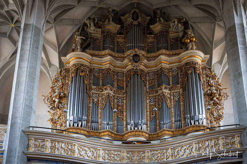 Interior of the An der Marienkirche where Handel played and taught music in Halle.