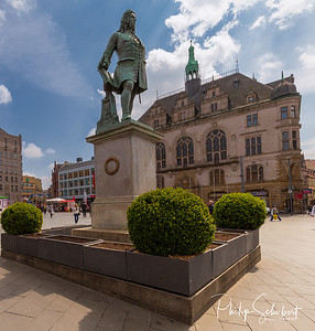 The Handel Statue in the Market Olace in Halle, Germany