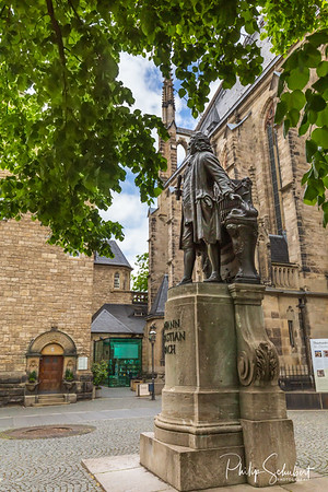 Leipzig, Germany - May 3, 2019: The famous statue of the composer Johann Sebastian Bach was the kapellmeister in the 18th century.