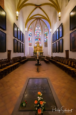 Leipzig, Germany - May 3.2019: The grave of the composer and organist Johann Sebastian Bach in the Choir (Altarraum), Thomaskircke in Leipzip where he was a kappellmeister in the 18th Century