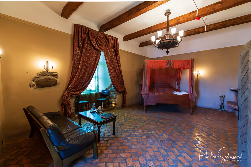 Jaunpils, Latvia -  May 5, 2019: Views inside the Baron's Suite in Jaunpils Castle in Latvia, a medieval castle dating from the 15th Century, now a hotel and museum.