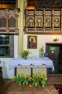 Klepsk, Poland - May 7, 2019: Interior view of the Evangelical Church of the Blessed Virgin Mary. The church was founded in  1367 and was the source of many German emmigrants to Australia in 1839