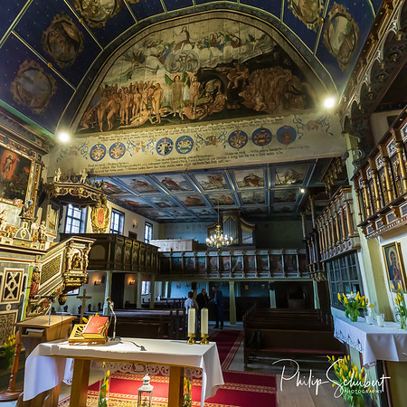 Klepsk, Poland - May 7, 2019: Interior view looking towards the organ from the sanctury of the Evangelical Church of the Blessed Virgin Mary. The church was founded in  1367.