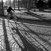 Cyclist in downtown Cologne