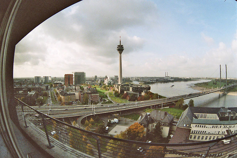 Skyline and Rhine, Duesseldorf, Germany