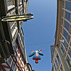"""Spiderman"" in front of a comic book store"