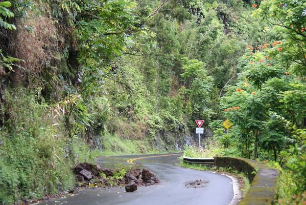 Rockfall in Road Enroute to Hana