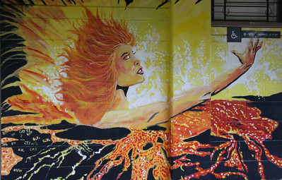 Pele and Volcano Mural