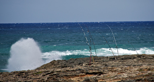 Fishing Poles and Waves Crashing