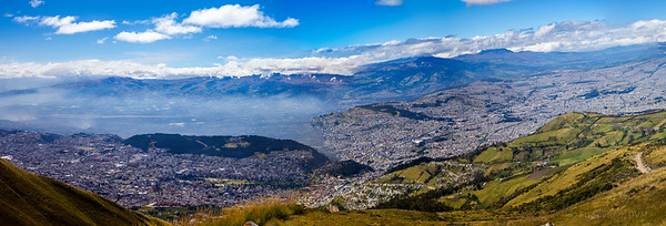 Panorama of Quito, Ecuador, from the top of the Teleferico gondola ride