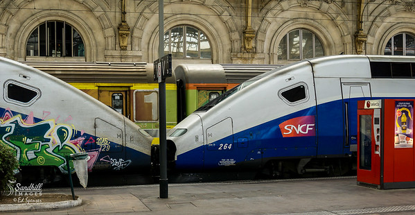Two high speed train locomotives nose to nose in Nice, France station