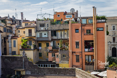Rome, from our rental apartment's rooftop (a family vacation)