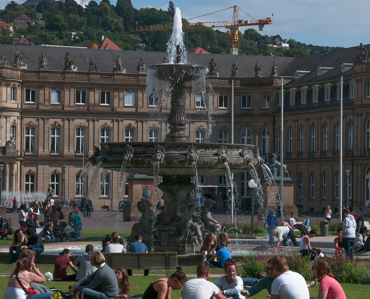 Water fountain in the square in Stuttgart.