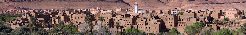 Kasbah and city of Asfalou between Todra Gorge and Tineghir - close up