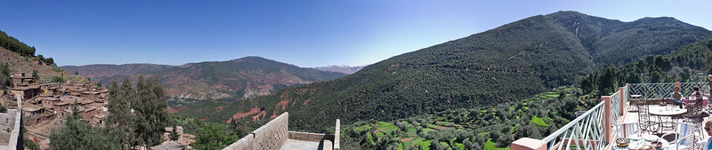View from restaurant at Tahouflit - in the Atlas mountains, route from Ouarzazate to Marrakech