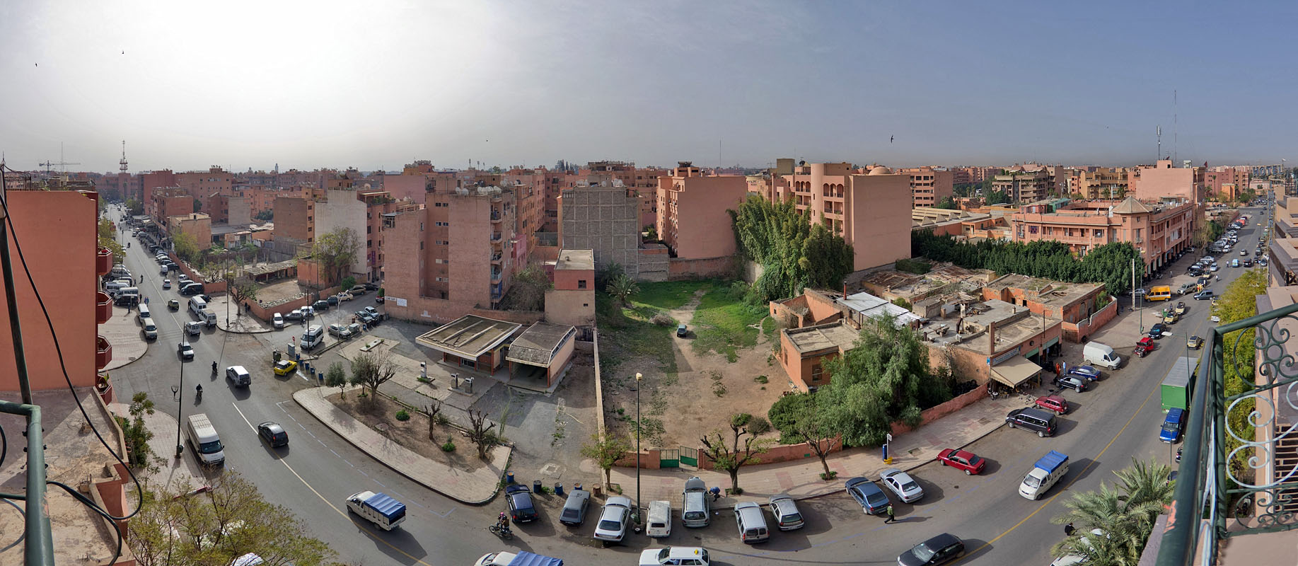 Street in Marrakech - view from a hotel roof
