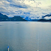 A view of Milford Sound as I stand in the rain and wind at the top of our cruise ship.