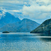 This photo of Milford Sound was taken inside the ship's lounge and those blue streaks are the moisture outside on the glass.