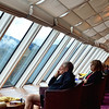 A view of the ship's lounge were people who do not want to brave the cold wind and rain stayed to watch the view.