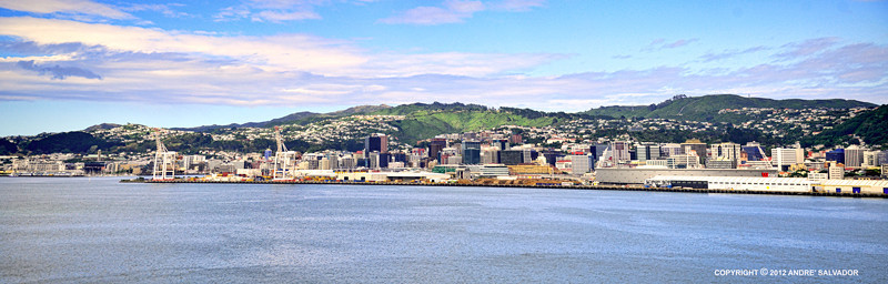 The view of Wellington as our ship approach the port before breakfast.<br /> <br /> Wellington was named after Arthur Wellesley, the first Duke of Wellington and victor of the Battle of Waterloo. The Duke's title comes from the town of Wellington in the English county of Somerset.