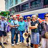 Our tour group as we started to form a queue line for the Wellington cable car to get up to the Botanic Gardens. We are right on Lambdon Quay Street in downtown Wellington.