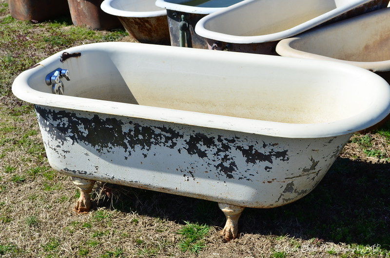 """OLD BATHTUBS""  ""Every tub has to sit on its own bottom."" ~ a book written by Zora Neal Hurston  This was the only one I spotted with the ""claw"" feet.  Southern Tubs  23869 Highway 8 Cleveland, MS  www.southerntubs.com"