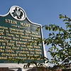 """October 20, 2011<br />  <br /> MARKER REGARDING THE SITE OF THE FIRST STEIN MART DEPARTMENT STORE (see previous pic)<br /> Washington Avenue<br />  Greenville, MS<br /> <br /> The marker reads, """"Russian immigrant Sam Stein arrived in Greenville by riverboat in 1905. Here he founded a retail enterprise that would remain in his family for generations. On this site in 1964, his son Jake Stein opened the first Stein Mart store. By the 1990's, a grandson Jay Stein had developed Stein Mart into a national department store chain. """""""