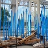 """Turquoise Reeds and Birch Logs in the  """"NUUTAJARVI"""" Installation<br /> <br /> The GALLERY featuring DALE CHIHULY<br /> <br /> The Gallery at City Center (Gallery Row)<br /> Inside Crystals at City Center <br /> 3720 S. Las Vegas Blvd. <br /> Las Vegas, NV 89109"""