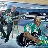 "April 9, 2008<br /> <br /> Painted by artist Cristen Craven Barnard, musician and artist Jay Kirgis, and others, starting in 2000, the Leland Blues Murals depict musicians from the Leland area, including Jimmy Reed, Little Milton, Eddie Cusic, Willie Foster, and James ""Son"" Thomas. When the first Delta Bluesmen took Highway 61 to the industrial north to find work, they also took their music. Today, the music born in the Delta is revered worldwide and recognized as the roots of jazz, rock and roll, rhythm and blues, and hip hop.<br /> <br /> All photos taken with an Eastman Kodak Easyshare Z710 Digital Camera.<br /> <br /> LELAND BLUES MURALS<br /> Leland, MS"