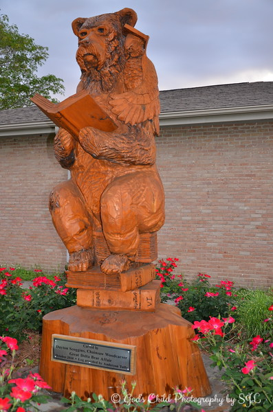 "April 15, 2017<br /> <br /> ""LIBRARY BEAR"" by Dayton Scoggins, Chainsaw Woodcarver)<br /> <br /> With a book in his hand, ""Library Bear"" is back on the grounds of the Sharkey-Issaquena County Library after receiving a retouch. <br /> <br /> View the pre-retouch photo here:<br /> <br /> <a href=""https://godschild.smugmug.com/TravelOhthePlacesWeveBeen/RollingForkMS/i-PFcGtr3/A"">https://godschild.smugmug.com/TravelOhthePlacesWeveBeen/RollingForkMS/i-PFcGtr3/A</a><br /> <br /> ""In 1902, President Theodore Roosevelt and famed guide Holt Collier came to the area for a black bear hunt. The expedition was unsuccessful but Roosevelt was offered the opportunity to shoot a captive bear at the end of the hunt but he refused; resulting in the naming of stuffed toy bears as ""Teddy Bears.""  <br /> <br /> ""Rolling Fork celebrates Teddy Roosevelt and his legacy on the fourth Saturday in October for the Great Delta Bear Affair.  Also, each year of the festival, the town receives a new sculptor of a chainsaw carved wood bear from the festival artist. These wooden masterpieces can be found at various locations throughout town. The 12 foot wooden bears are carved during the Great Delta Bear Affair. It's great fun to watch a bear being formed from a cypress tree stump by renowned Mississippi chainsaw woodcarver, Dayton Scoggins.""<br /> <br /> ""The Great Delta Bear Affair was first observed in 2002 on the 100th anniversary of President Theodore Roosevelt's famous bear hunt in Sharkey County, Mississippi. The Bear Hunt led to the creation of the Teddy Bear. Since that time it has become an annual event embraced by the community and filled with great entertainment. Continuous musical acts, a tour of nearby archaeological sites, seminars, a chainsaw wood carver, arts and crafts vendors, magician, food vendors, Teddy Roosevelt and Holt Collier impersonators and lots of friendly folks highlight this first class festival held on the courthouse square in Rolling Fork.""<br /> <br /> Library<br /> Rolling Fork, MS<br /> Official website: <a href=""http://www.greatdeltabearaffair.org"">http://www.greatdeltabearaffair.org</a><br /> <br /> My Homepage:  <a href=""http://www.GodsChild.SmugMug.com"">http://www.GodsChild.SmugMug.com</a>"