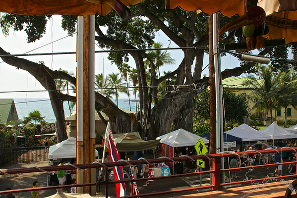 The view from the restaurant. One very old Banyan tree. A street market going on. This is a great place to get Mexican Food while on the Big Island of Hawaii. They are great people and have the best Mexican Food on island. Oh ,their margaritas are grand!
