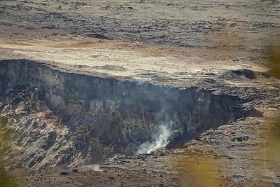 Inside the Kilauea caldera. Steam inside the caldera.