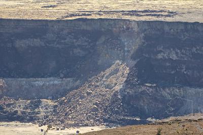 Inside the Kilauea caldera. The canyon wall has fell into the smaller caldera.