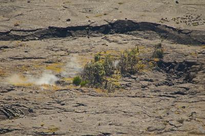 The Kilauea caldera. Steam inside the caldera.