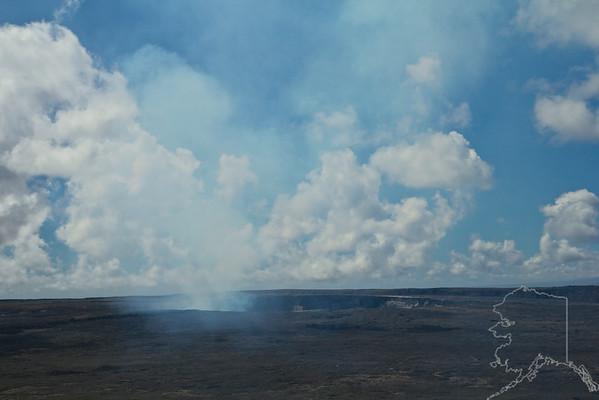 The Kilauea caldera. The smoke is burning lava at the surface.