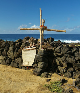 A cross to honor a loved one that has passed. This is the most southern point in the U.S. Yes Key West has the most southern point on the main land but this part of Hawaii is closer to the equator. From what I have read this place has the best fishing. The wooden structures you see are used to launch small boats off the cliffs.