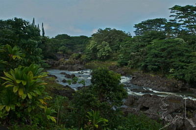 We took a day trip from Maui to the Big Island. Had a great time. The river that feeds Rainbow Falls.