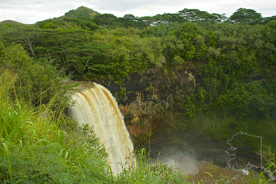 After a big rain storm!! Wailua Falls is a spectacular 80 ft. high waterfall. In normal flows, it is really quite pretty, dropping in 3 separate segments. In high flows, as shown above, it is a single massive falls. Wailua Falls is the waterfall that used to be shown on the old TV show, Fantasy Island. It is also where in ancient times men used to dive off (over the falls) to prove their worthiness. Let me tell you, I would not be diving off this cliff. But it definitely is a spectacular waterfall. The best time to visit Wailua Falls is very early in the morning before all the crowds come in.